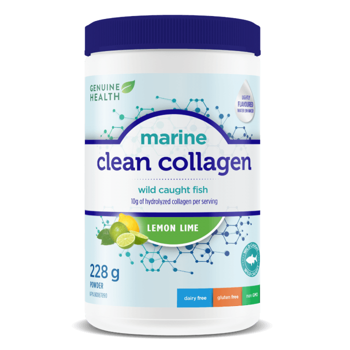 Supplements & Vitamins - Genuine Health - Marine Clean Collagen - Lemon Lime, 228g