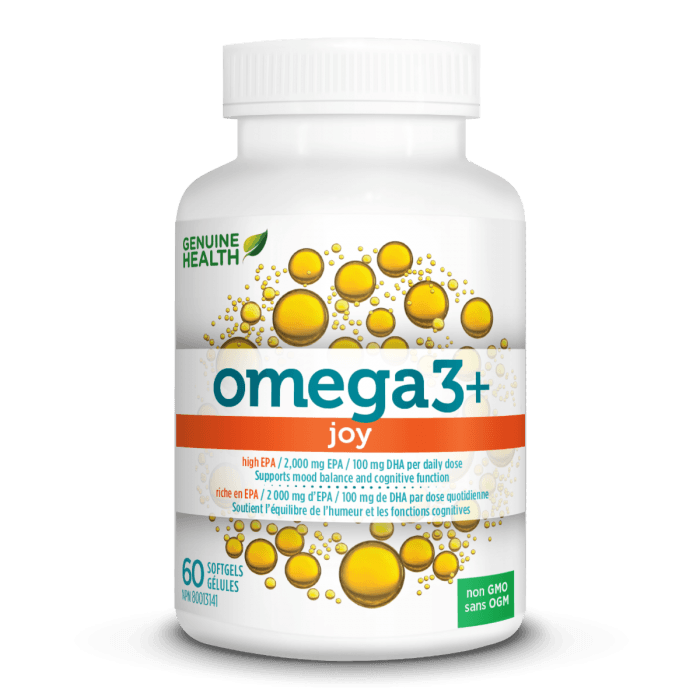 Supplements & Vitamins - Genuine Health - Omega3+ JOY, 60 Capsules