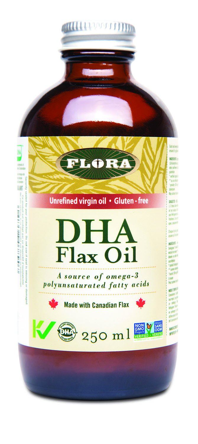 Supplements & Vitamins,Gluten Free,Vegetarian,Non GMO - Flora - DHA Flax Oil, 250ml
