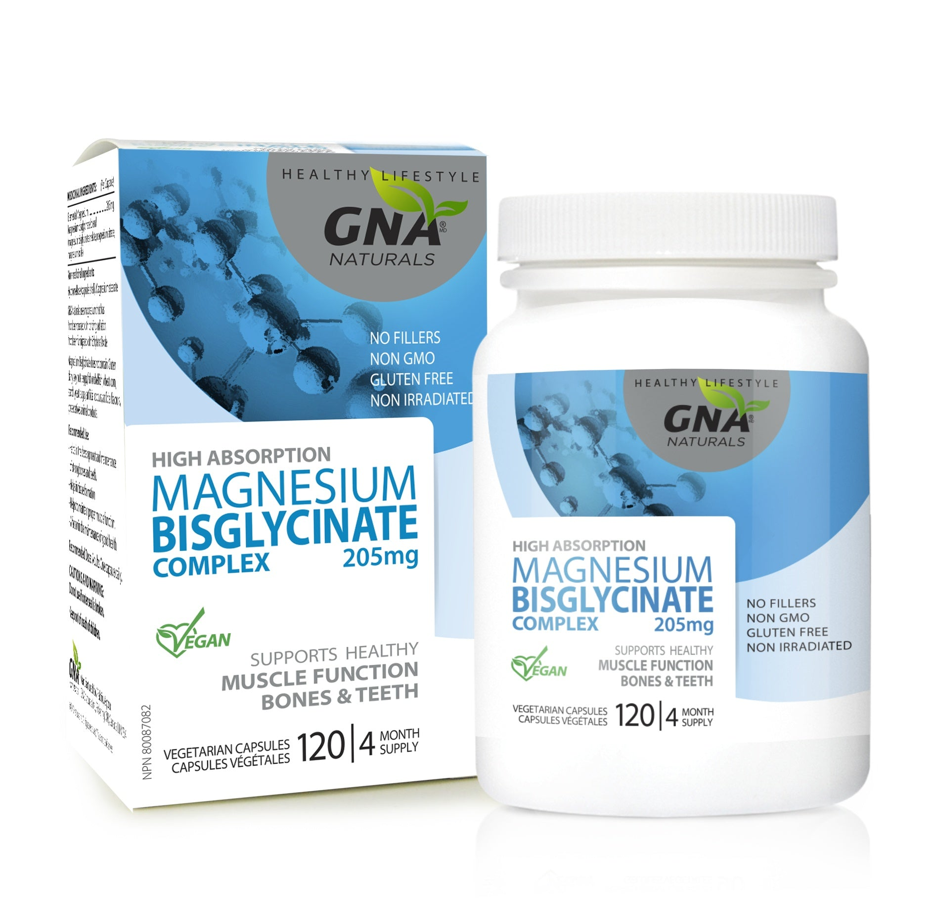 Supplements & Vitamins - GNA - Magnesium Bisglycinate Complex, 120 VCAPS