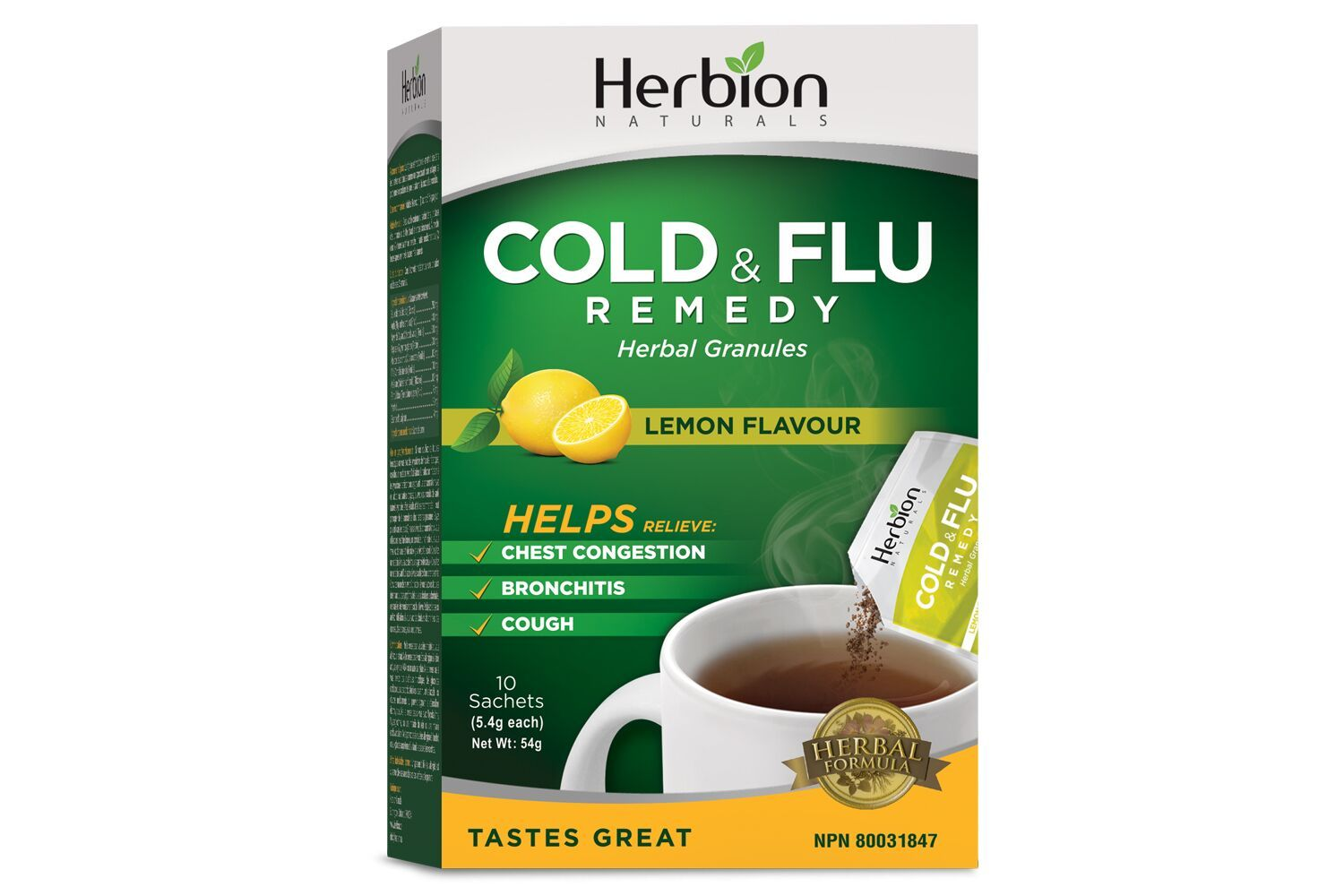 Supplements & Vitamins - Herbion - Cold & Flu Remedy - Lemon Flavour, 10 Sachets