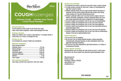 Supplements & Vitamins - Herbion - Cough Lozenges - Mint, 18 Lozenges