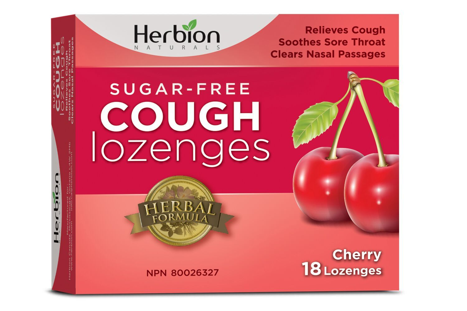 Supplements & Vitamins - Herbion - Sugar Free Cherry Cough Lozenges, 18 Lozenges