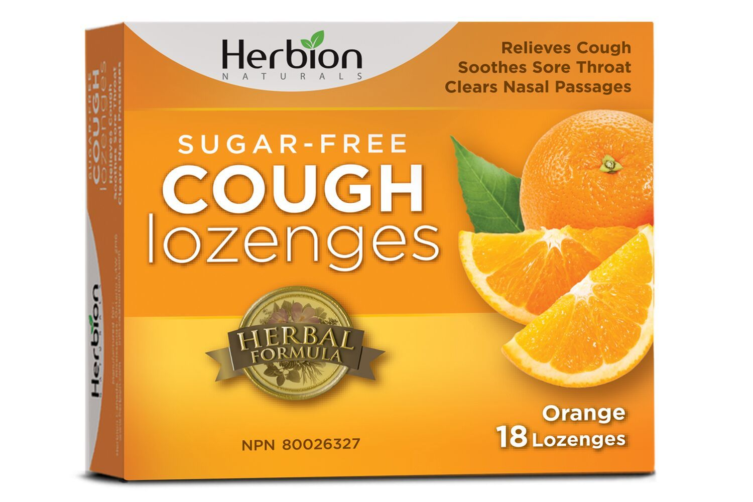 Supplements & Vitamins - Herbion - Sugar Free Orange Cough Lozenges, 18 Lozenges