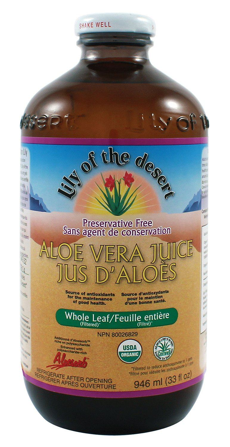 Supplements & Vitamins - Lily Of The Desert - Preservative Free Whole Leaf Aloe Juice, 946mL