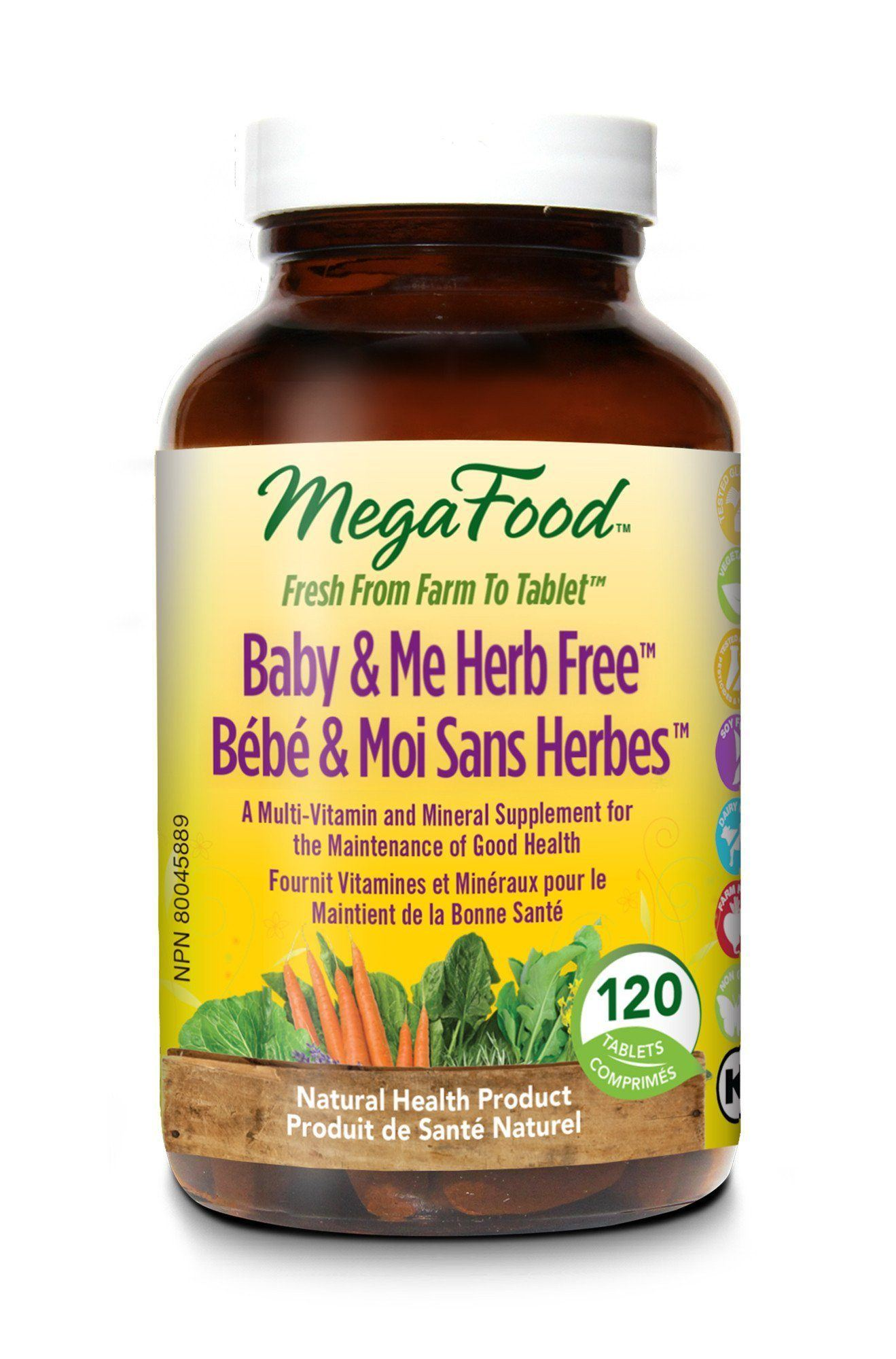 Supplements & Vitamins - Mega Food - Baby & Me Herb Free, 120 Caps