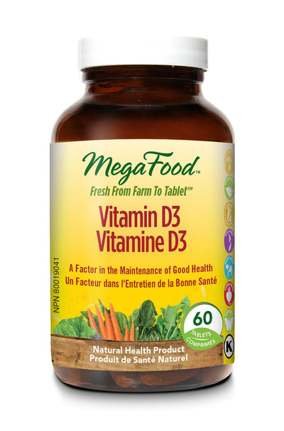 Supplements & Vitamins - Mega Food - Vitamin D-3, 60 Tablets