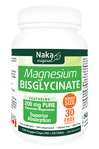 Supplements & Vitamins - Naka - Magnesium Bisglycinate 200mg - 120 Caps