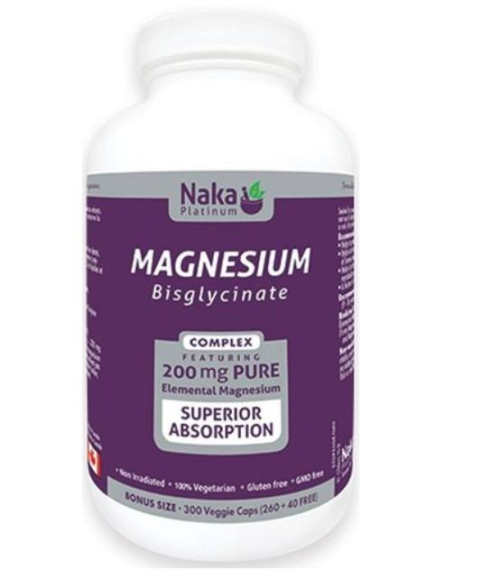 Supplements & Vitamins - Naka - Magnesium Bisglycinate 200mg, 300 Vcap