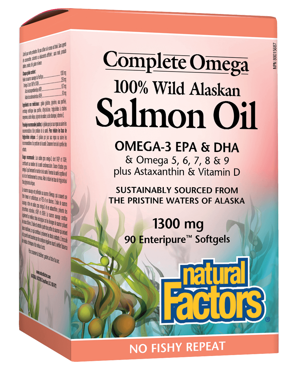 Supplements & Vitamins - Natural Factors - 100% Wild Alaskan Salmon Oil -90 Softgels