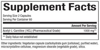 Supplements & Vitamins - Natural Factors - Acetyl L-Carnitine - 500mg, 60 Capsules