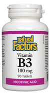 Supplements & Vitamins - Natural Factors - B3 Niacin 100mg, 90 Tablets