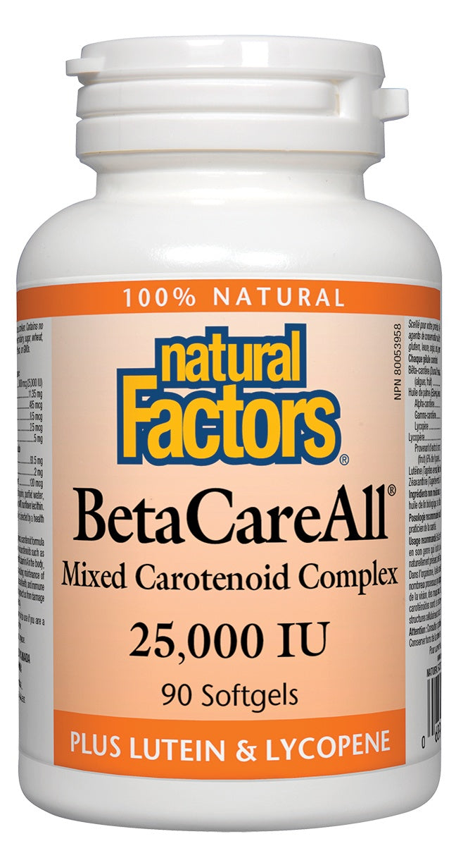 Supplements & Vitamins - Natural Factors - BetaCareAll® Mixed Carotenoid Complex 25,000 IU, 90 Softgels