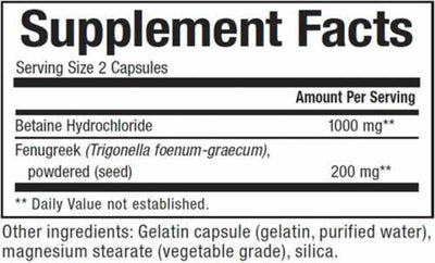 Supplements & Vitamins - Natural Factors - Betaine HCL -90 Capsules