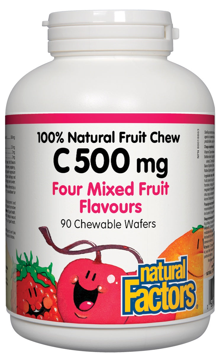 Supplements & Vitamins - Natural Factors - C 500 Mg 100% Natural Fruit Chew Chewable Wafers, 90 Chewable Wafers