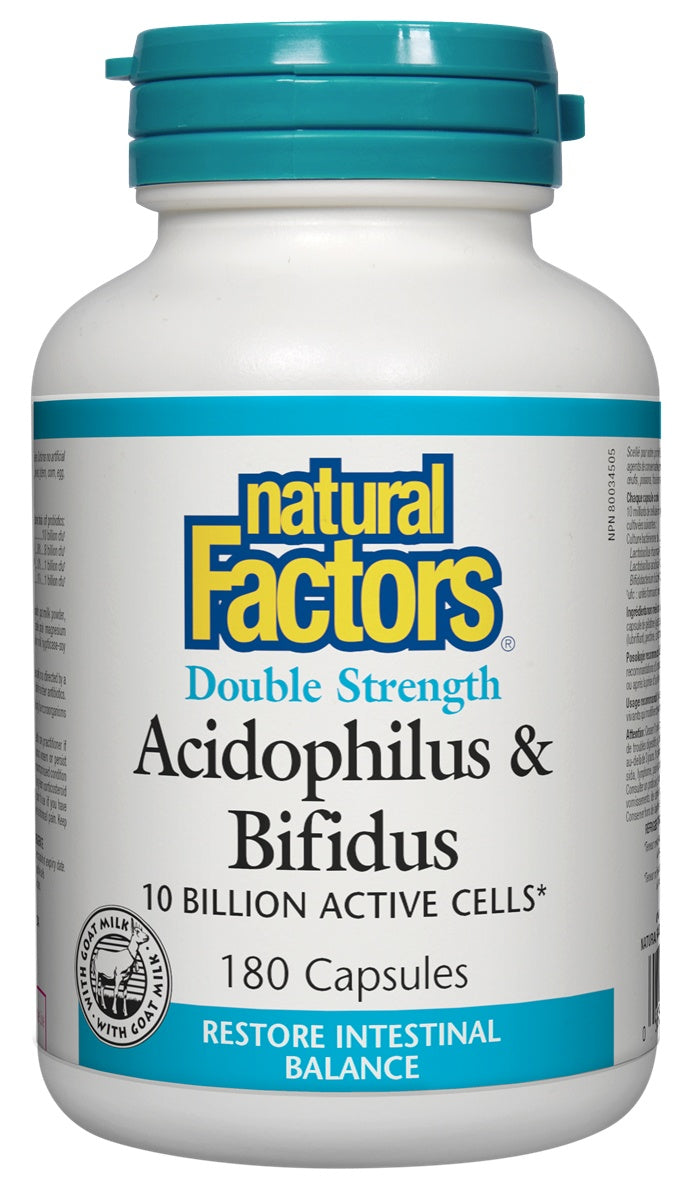 Supplements & Vitamins - Natural Factors - Double Strength Acidophilus & Bifidus, 180 Capsules