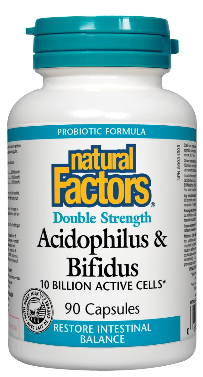 Supplements & Vitamins - Natural Factors - Double Strength Acidophilus & Bifidus, 90 Capsules