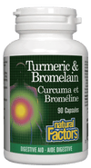 Supplements & Vitamins - Natural Factors - Turmeric & Bromelain, 90 Capsules