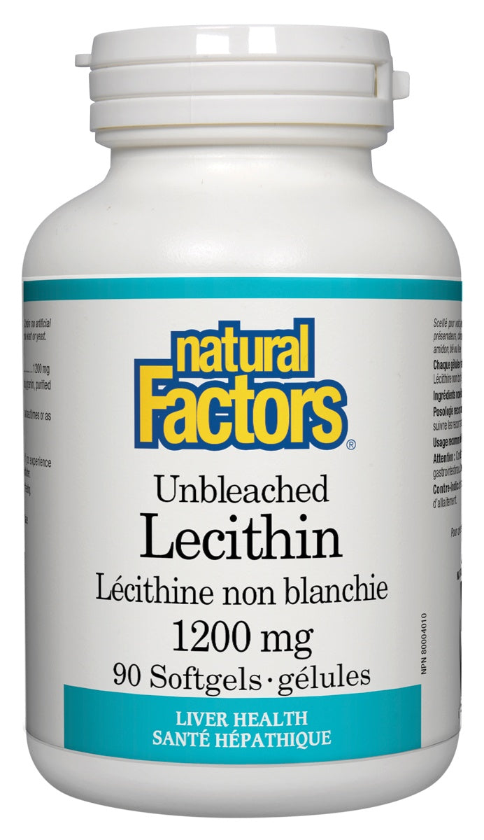 Supplements & Vitamins - Natural Factors - Unbleached Lecithin -90 Softgels