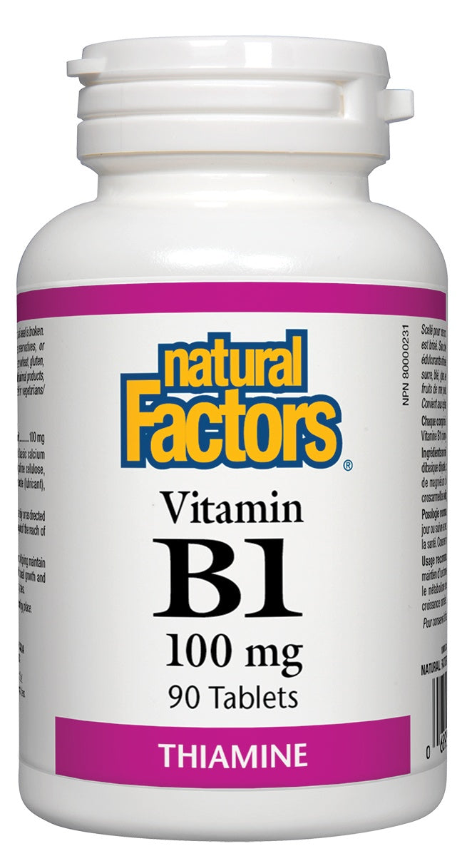 Supplements & Vitamins - Natural Factors - Vitamin B1 - 100mg, 90 Tablets