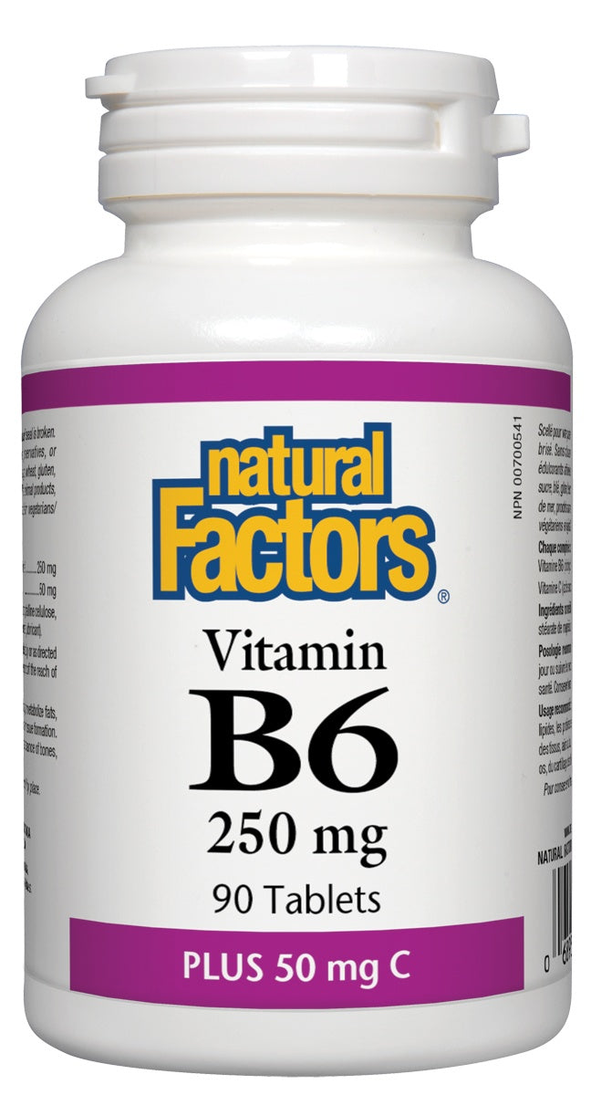 Supplements & Vitamins - Natural Factors - Vitamin B6 With Vitamin C, 90 Tablets