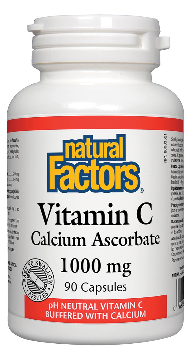 Supplements & Vitamins - Natural Factors - Vitamin C 1000 Mg Calcium Ascorbate, 90 Capsules