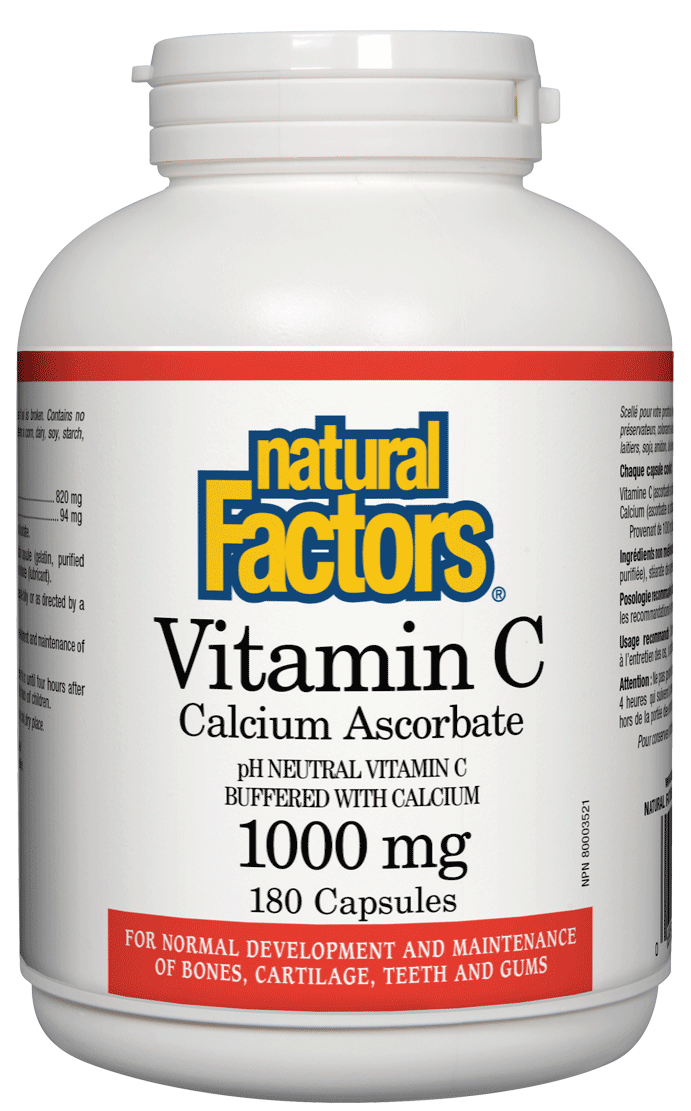 Supplements & Vitamins - Natural Factors - Vitamin C (Calcium Ascorbate), 180 Capsules