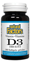 Supplements & Vitamins - Natural Factors - Vitamin D 1000IU, 180 Softgels