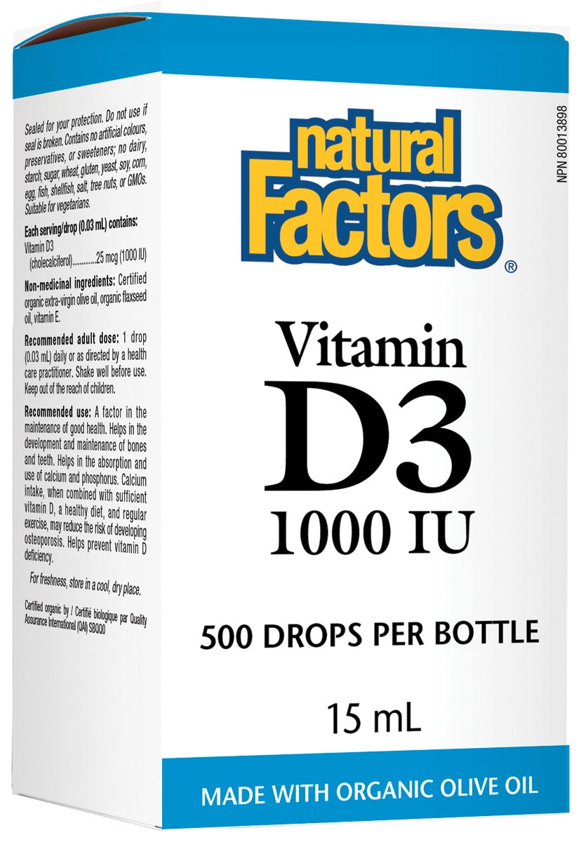 Supplements & Vitamins - Natural Factors - Vitamin D3 Drops - 1000IU, 15ml