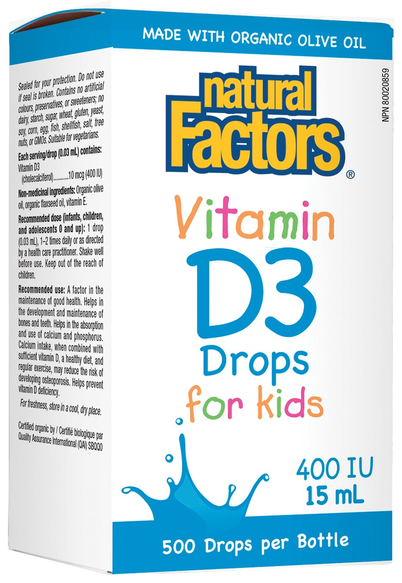 Supplements & Vitamins - Natural Factors - Vitamin D3 Drops For Kids - 400IU, 15ml