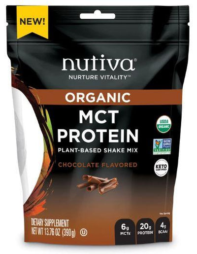 Supplements & Vitamins - Nutiva - MCT Protein, Plant-Based Shake Mix, Chocolate 390g