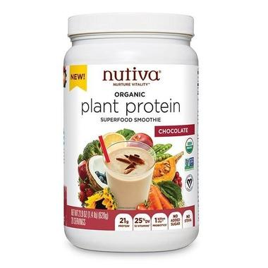 Supplements & Vitamins - Nutiva - Plant-Based Protein - Chocolate, 620g