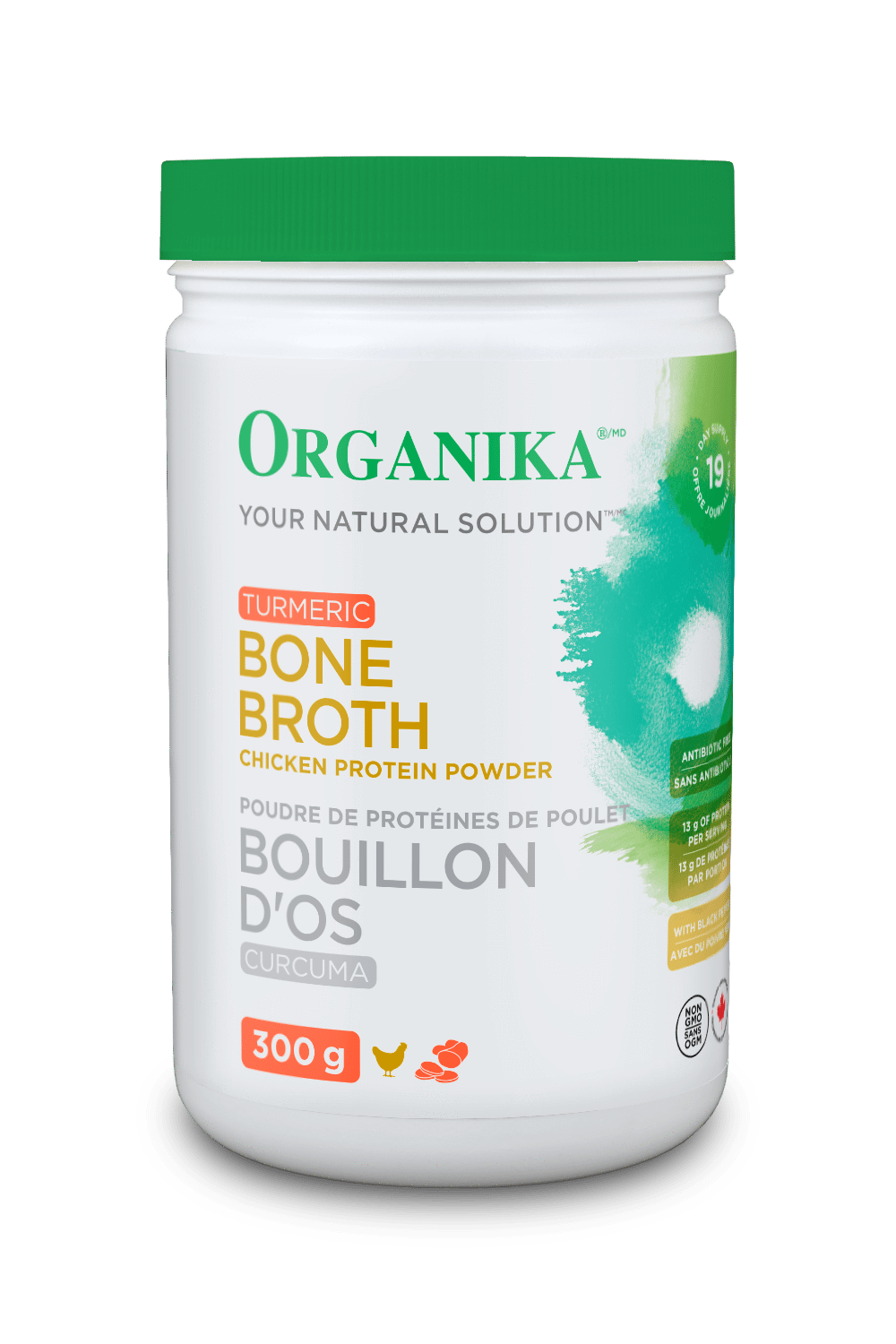 Supplements & Vitamins - Organika - Bone Broth Turmeric Protein Powder, 300g