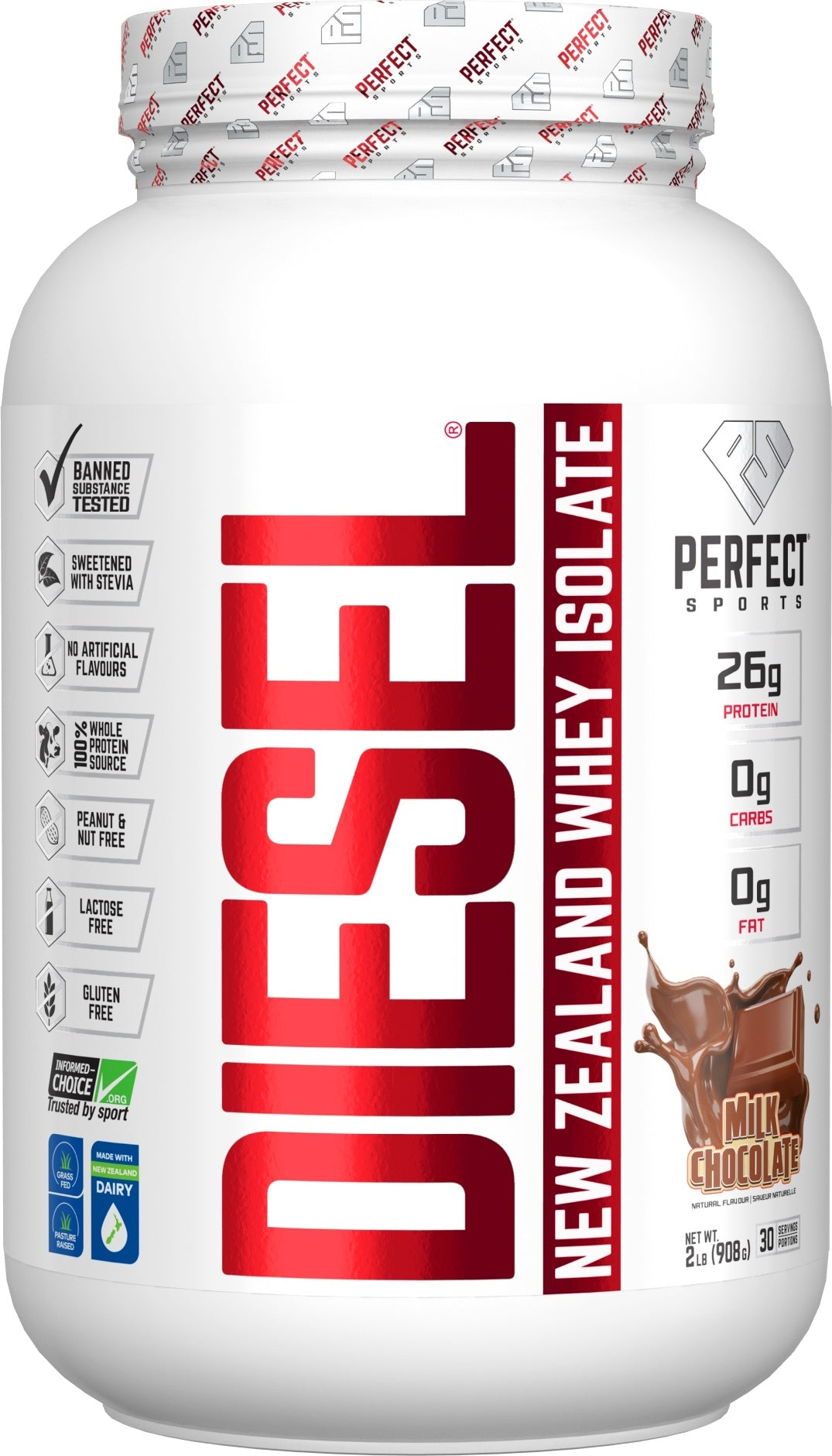 Supplements & Vitamins - Perfect Sports - Diesel Chocolate Whey Isolate, 908g