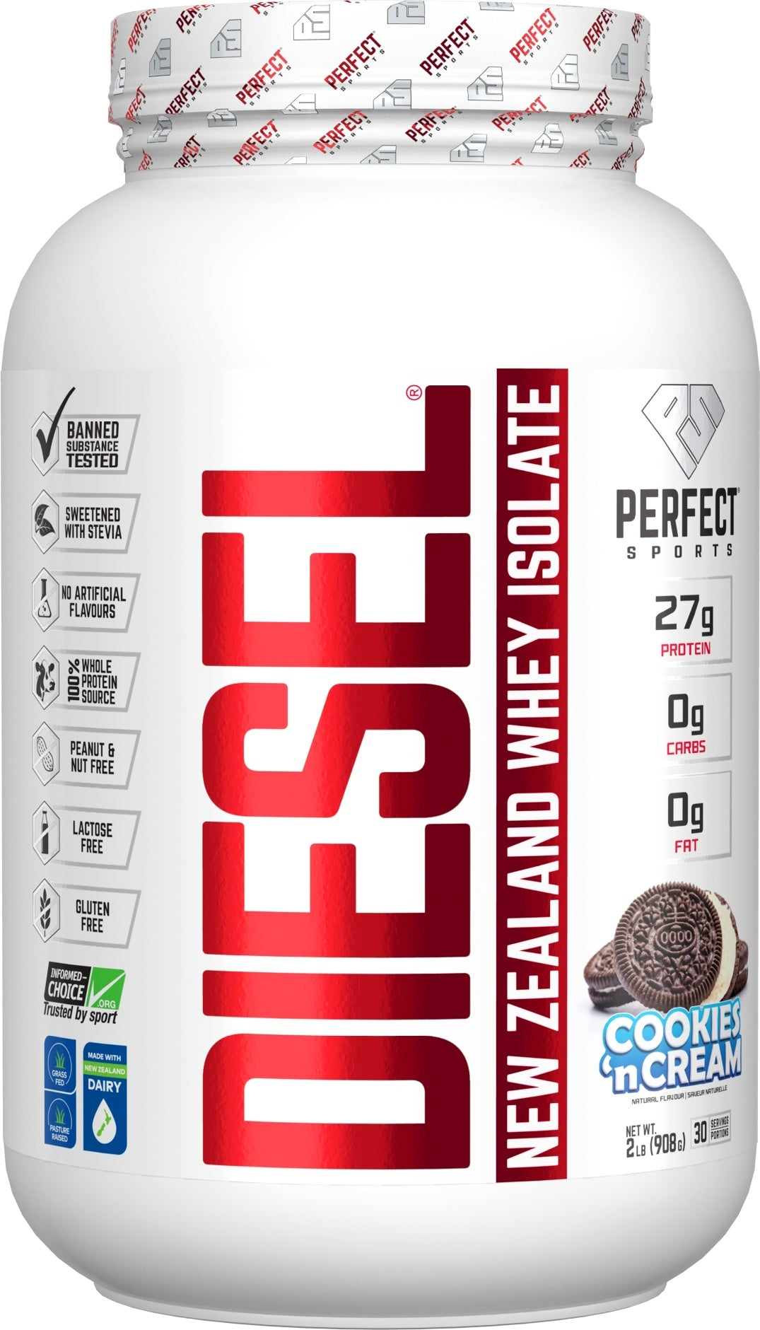 Supplements & Vitamins - Perfect Sports - Diesel Cookies And Cream Whey Isolate, 908g