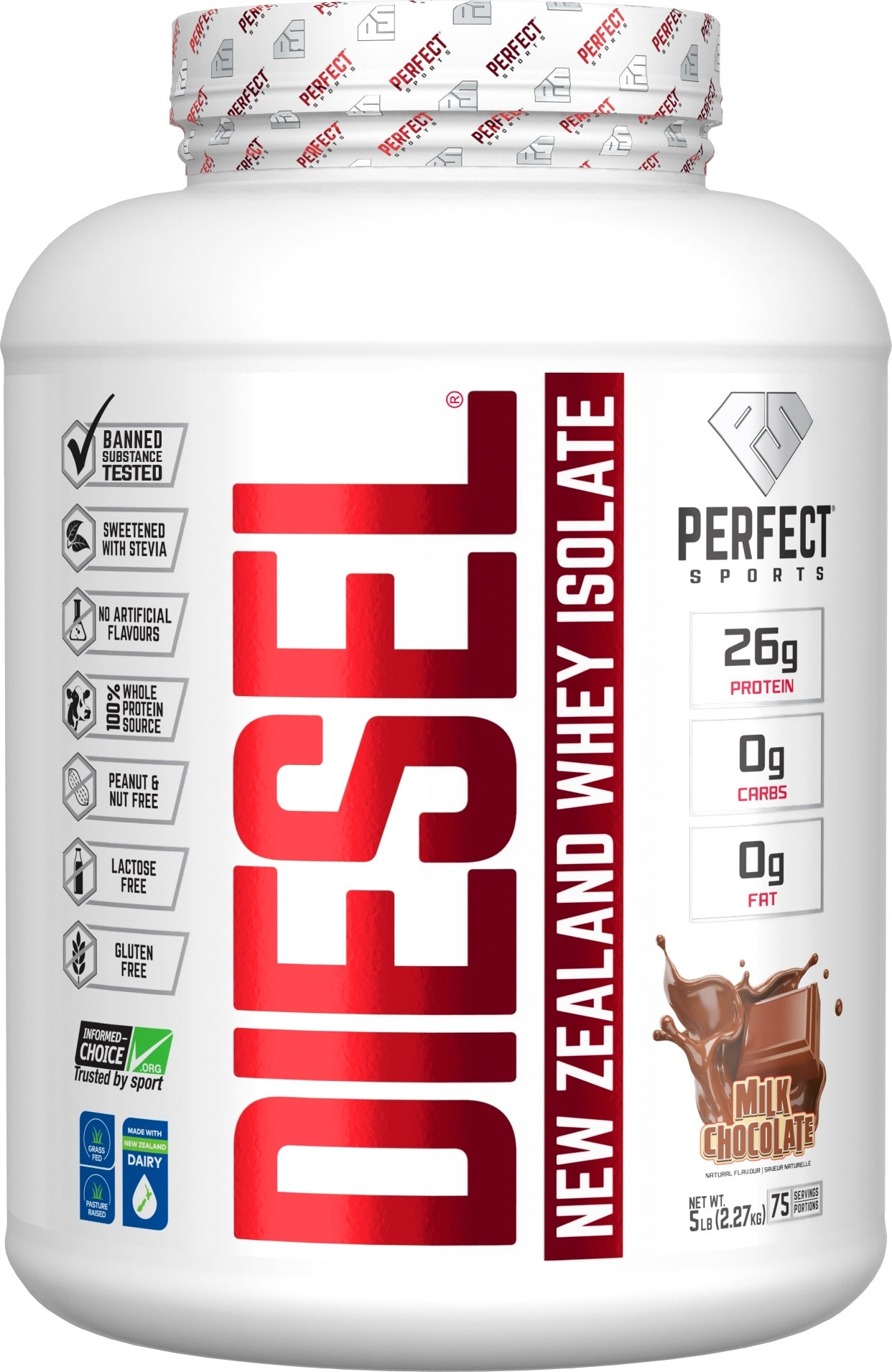 Supplements & Vitamins - Perfect Sports - Diesel Milk Chocolate Whey Isolate, 5lbs
