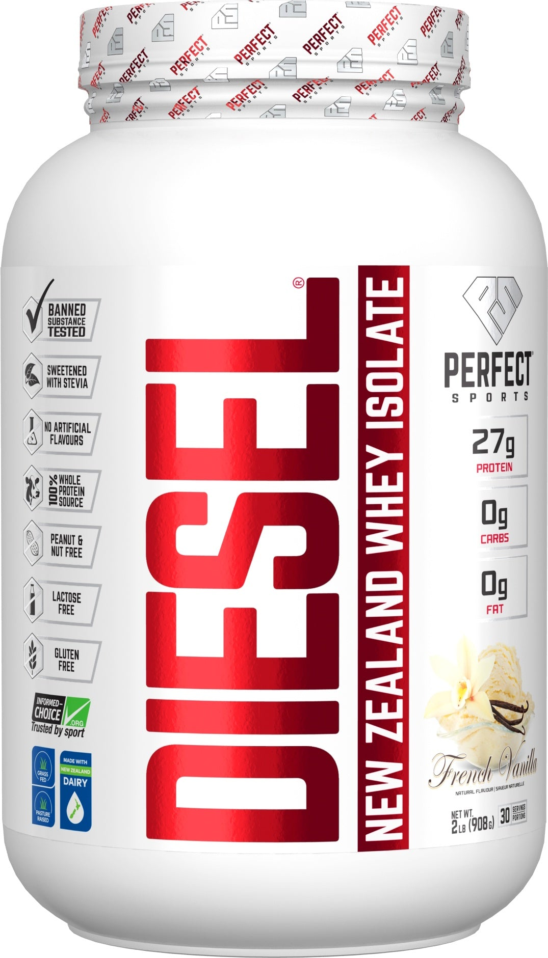 Supplements & Vitamins - Perfect Sports - Diesel Vanilla Whey Isolate, 908g
