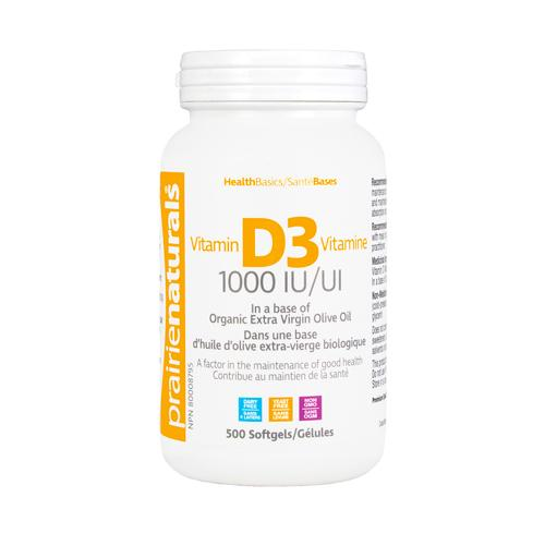 Supplements & Vitamins - Prairie Naturals - Vitamin D3 1000 IU, 500 SOFTGELS
