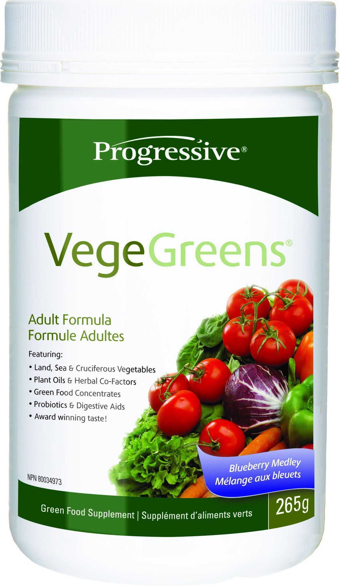 Supplements & Vitamins - Progressive - Blueberry VegeGreens, 265g