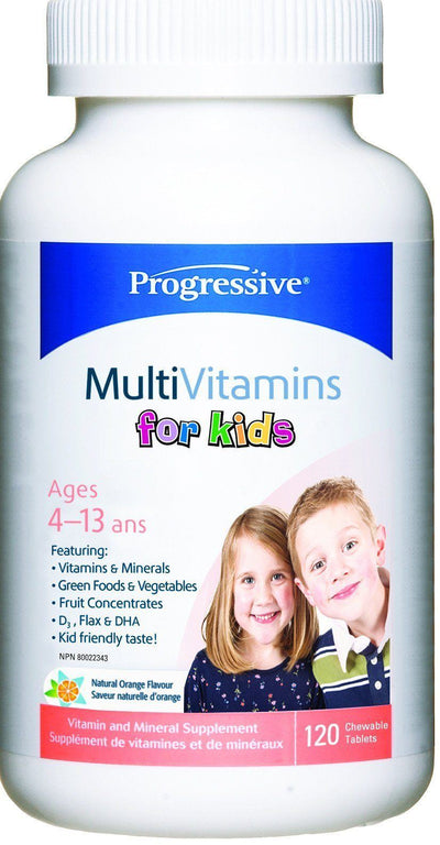 Supplements & Vitamins - Progressive - MultiVitamins For Kids, 120 Tabs