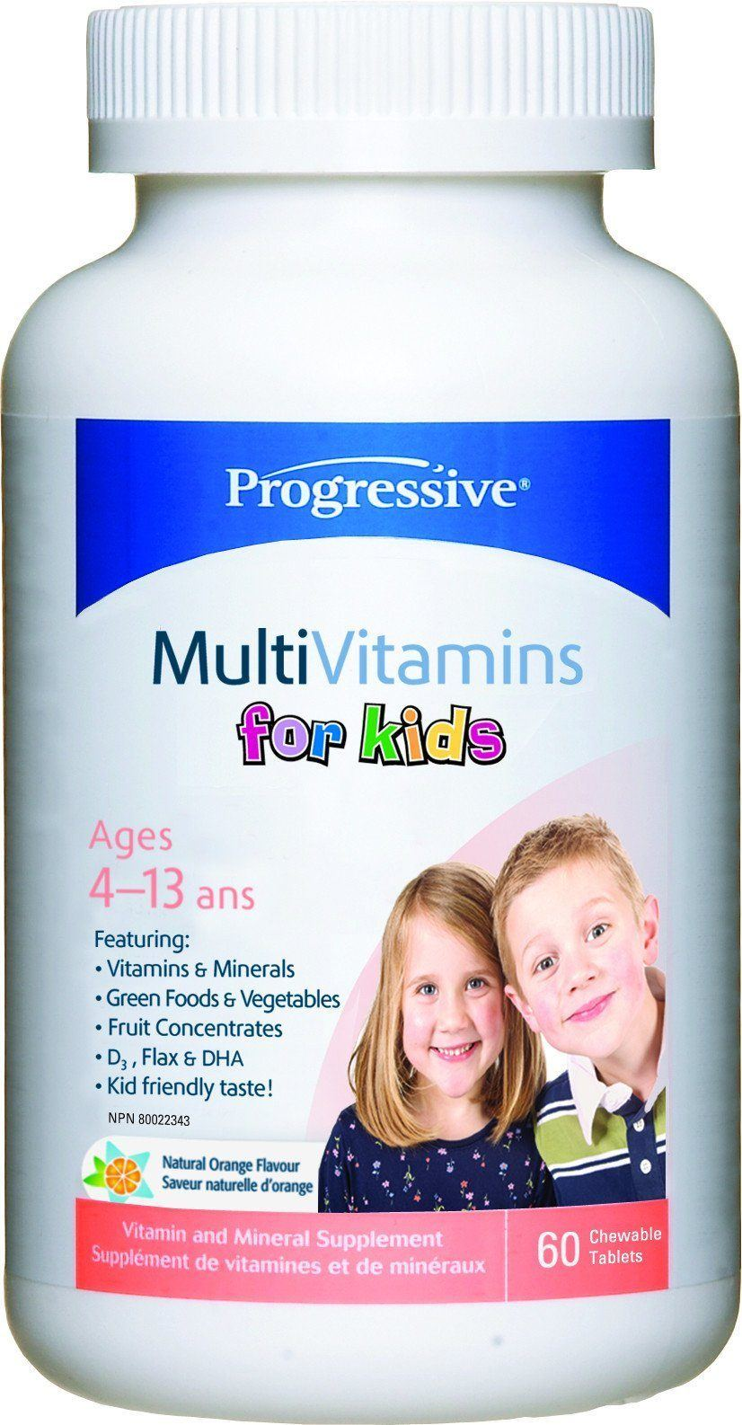 Supplements & Vitamins - Progressive - MultiVitamins For Kids, 60 Tabs