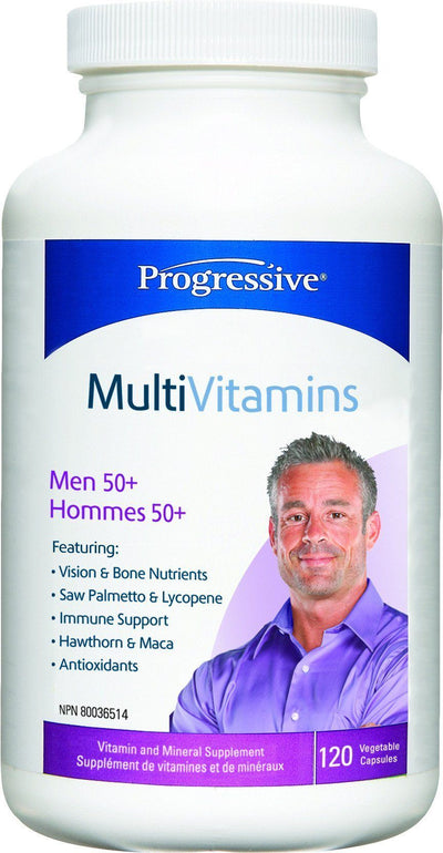 Supplements & Vitamins - Progressive - MultiVitamins For Men 50+, 120 Caps