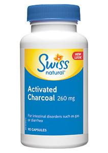 Supplements & Vitamins - Swiss Natural - Activated Charcoal, 90 Caps