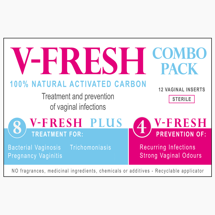 Supplements & Vitamins - V-Fresh - Treat & Prevent Charcoal Insert Combo Pack, 12 Pack