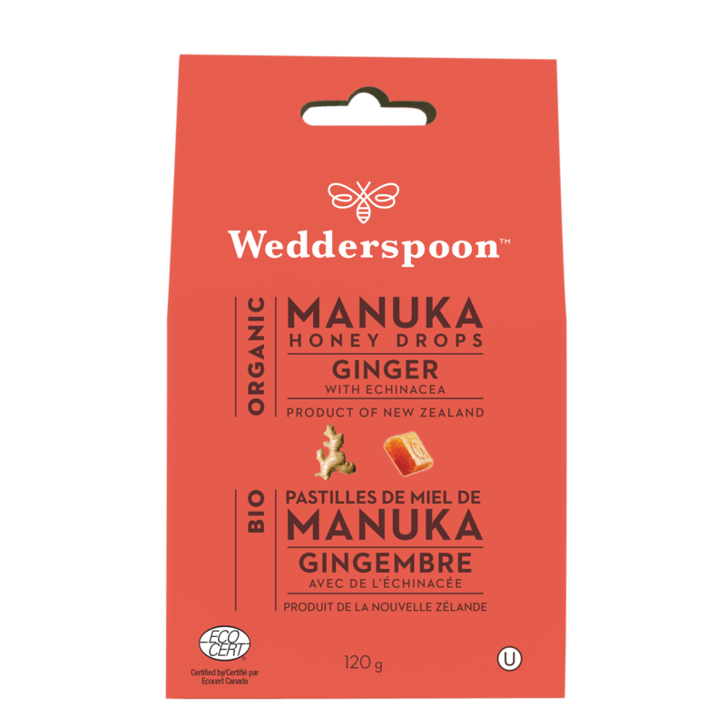 Supplements & Vitamins - Wedderspoon - Org Manuka Ginger Honey Drops - 130g