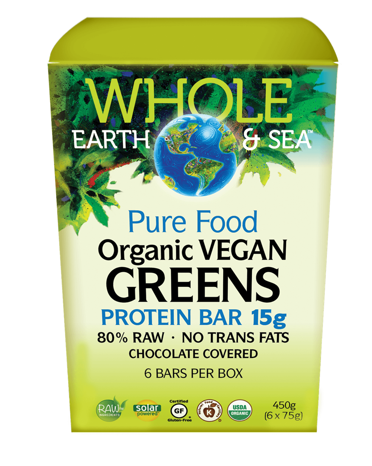 Supplements & Vitamins - Whole Earth & Sea - Organic Vegan Green Protein Bar, 6 X 75g