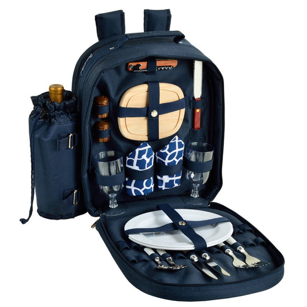 Trellis Blue Picnic Backpack for 2 - The Picnic Store - 1
