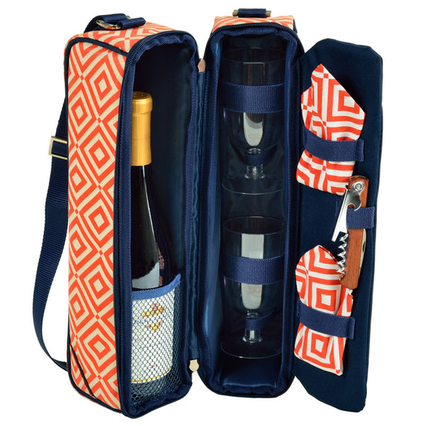Diamond Orange Sunset Wine Carrier for 2 - The Picnic Store - 1