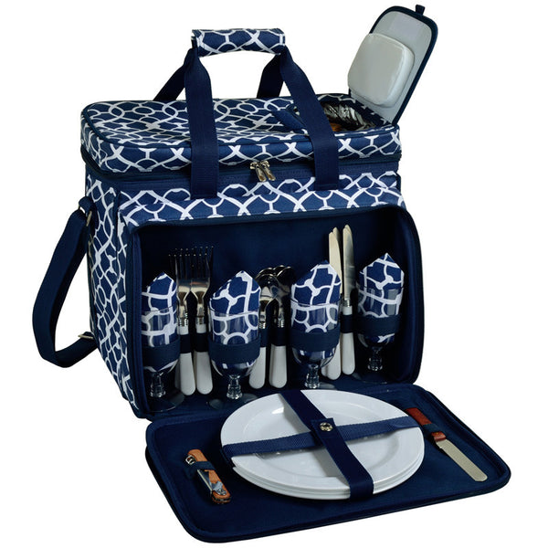 Trellis Blue Picnic Cooler for 4 - The Picnic Store - 1