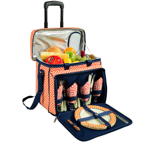 Diamond Orange Picnic Cooler for 4 on Wheels - The Picnic Store - 1